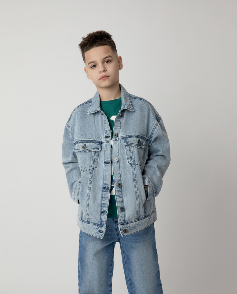12112BJC4005, Куртка джинсовая Gulliver цв. голубой 140,  - купить со скидкой