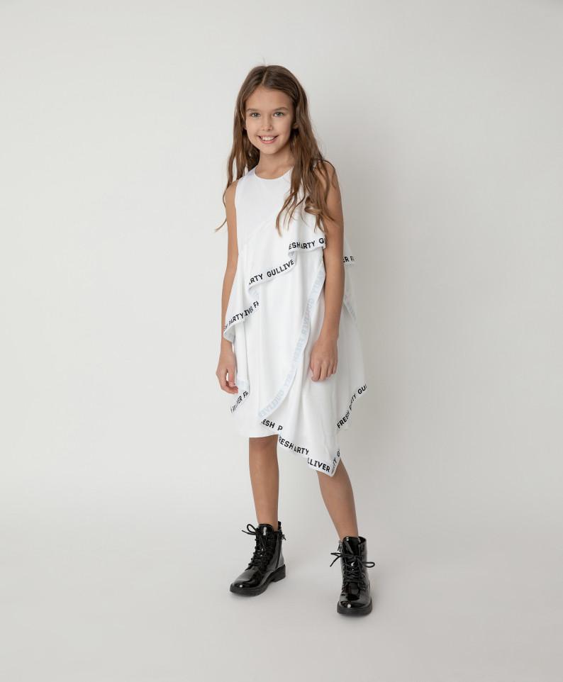 Купить 121GPGJC2504, Платье нарядное с рюшами Gulliver цв. белый 140,