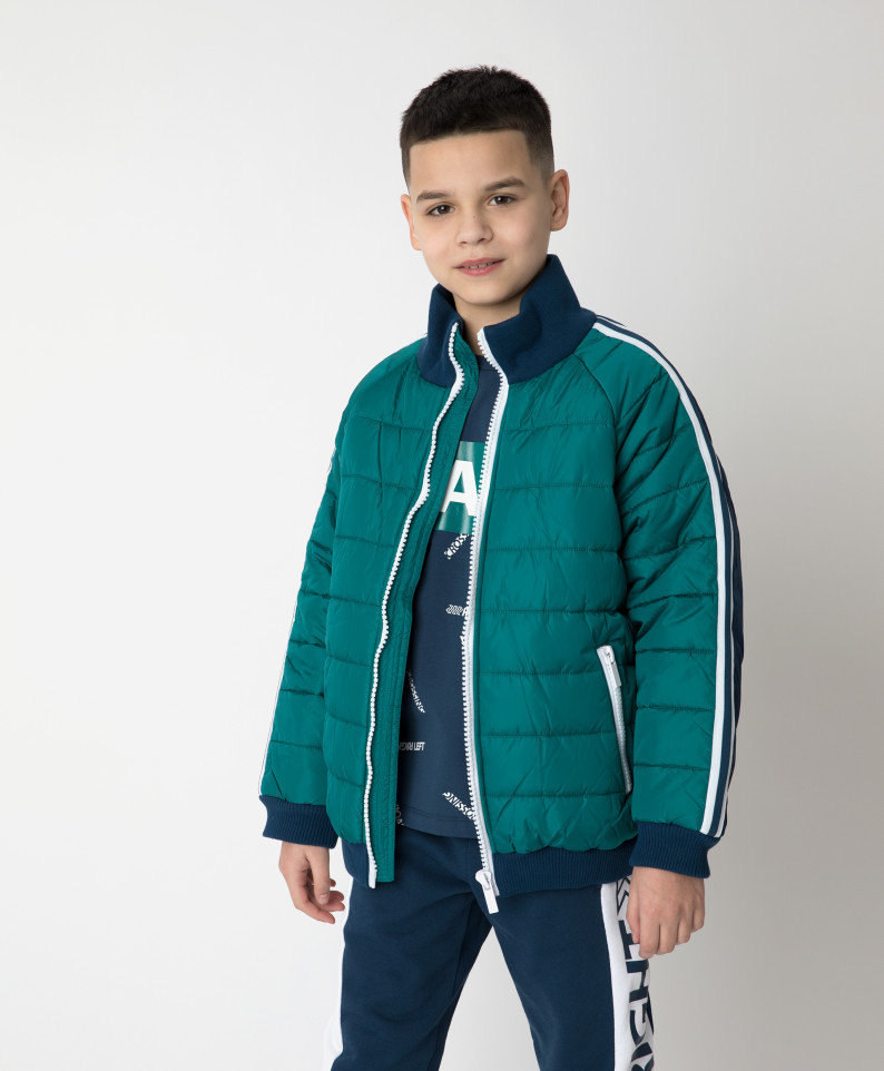 Купить 12112BJC4102, Куртка демисезонная сине-зеленая Gulliver цв. зеленый 134,