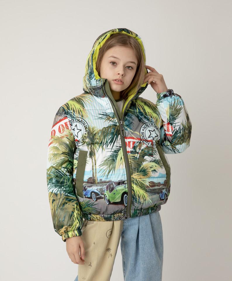Купить 12108GJC4101, Куртка демисезонная с принтом и капюшоном Gulliver цв. мультицвет 146,