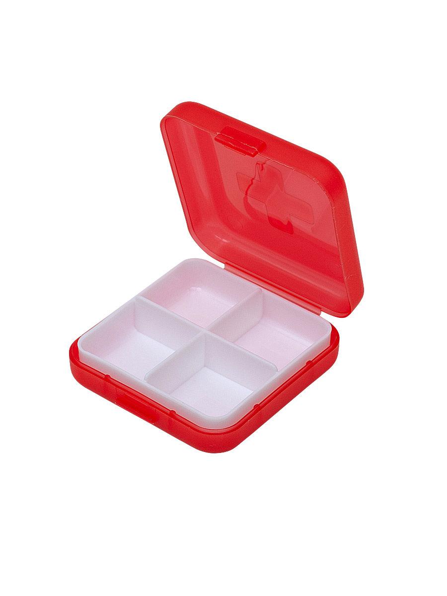 Таблетница Litzen Tablet 4 секции красный