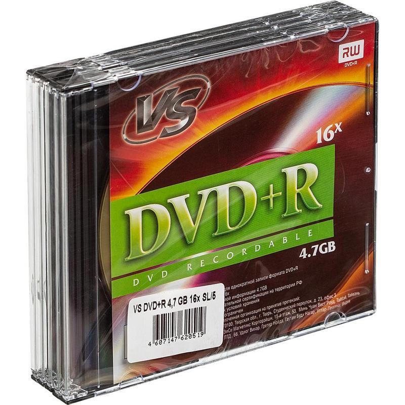 Диск VS DVD+R 4.7 Gb 5 шт