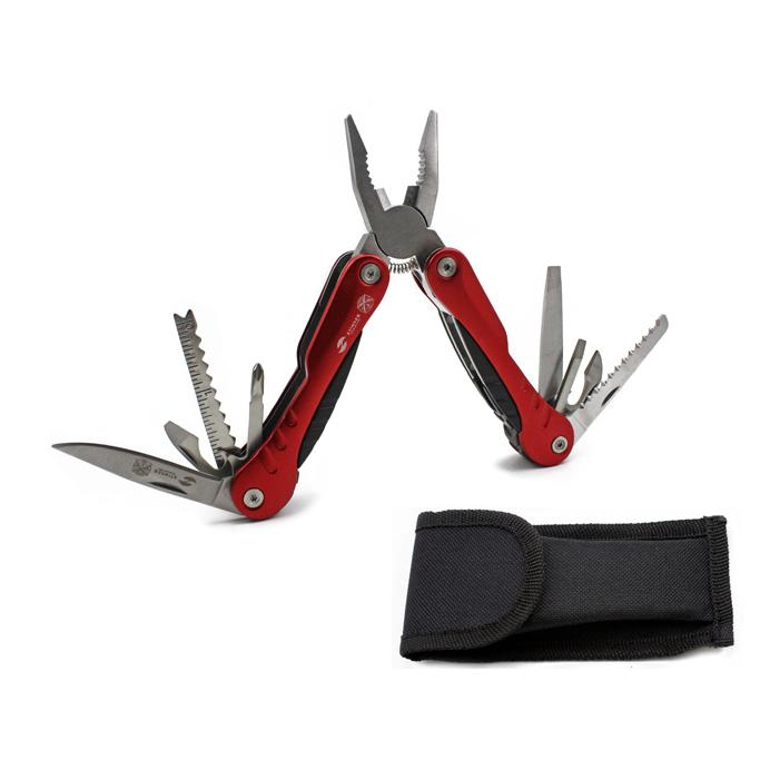 Мультитул Stinger, красный, 9 инструментов, нейлоновый чехол