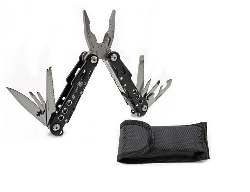 Мультитул Stinger, чёрный, 9 инструментов, нейлоновый чехол