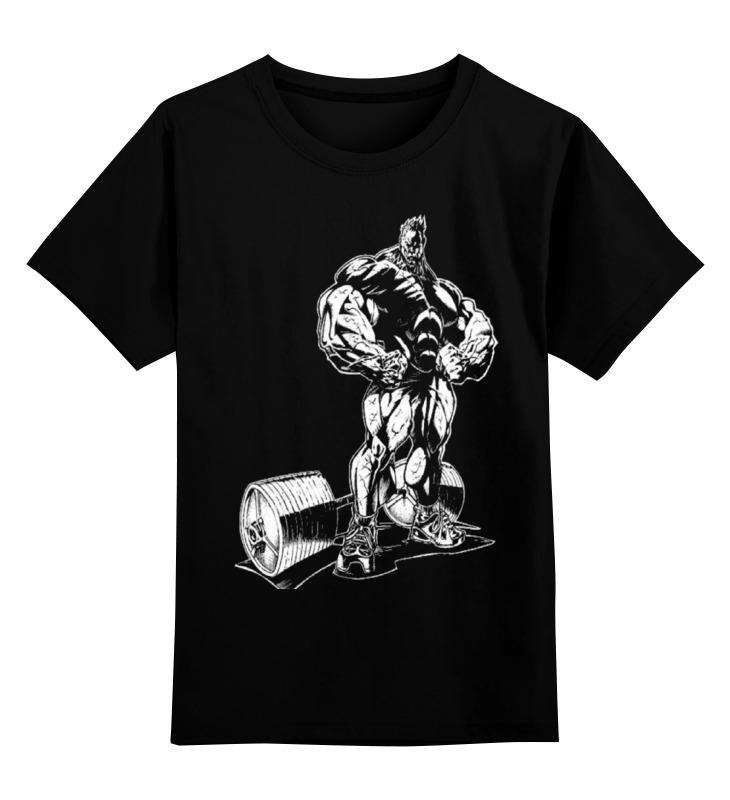 Купить 0000000672925, Детская футболка классическая Printio Bodybuilding, р. 164,