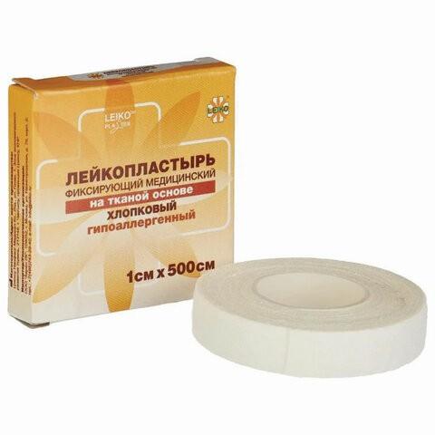 Купить Лейкопластырь медицинский фиксирующий в рулоне LEIKO 24 шт. 1х500 см на тканевой основе