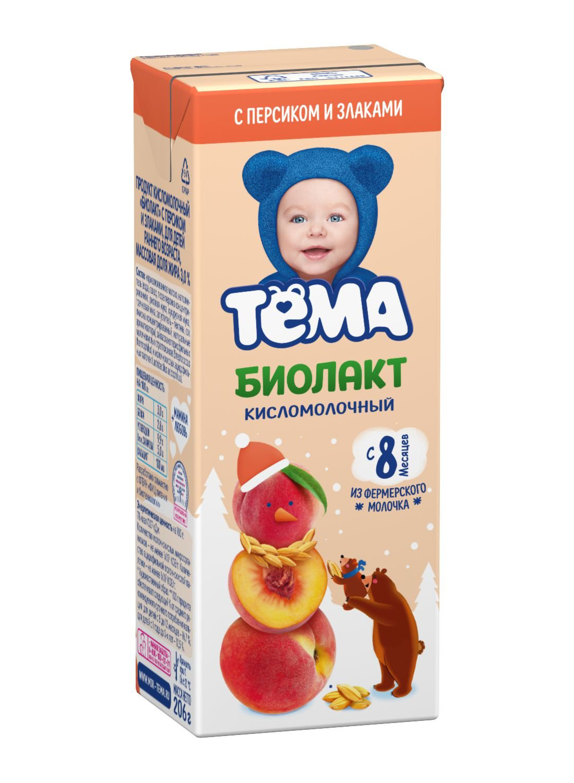 Купить Биолакт Тема персик-злаки с 8 месяцев 3% 206 г бзмж, Тёма,