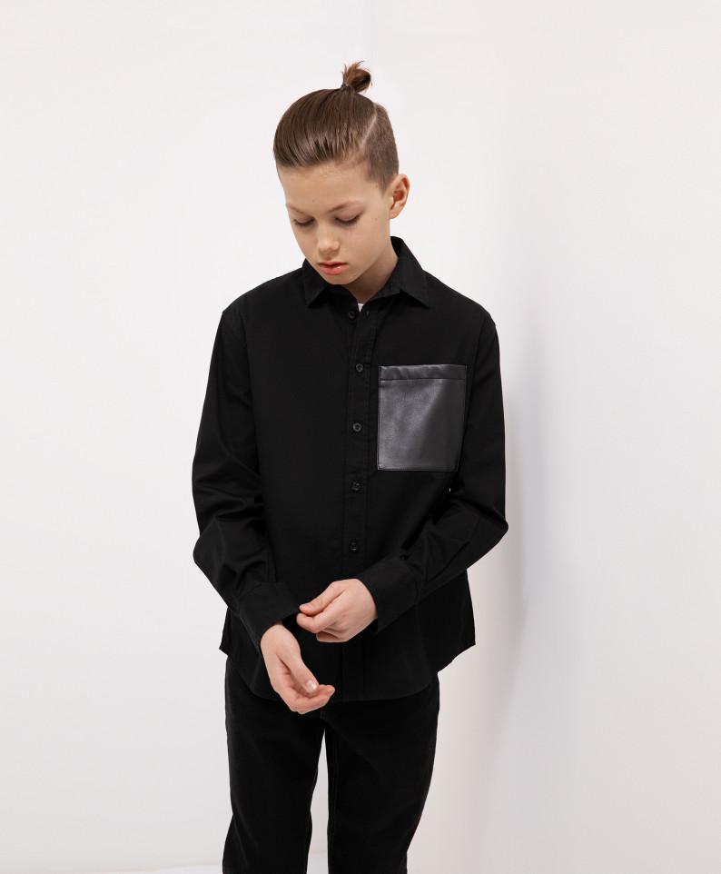 Рубашка черная с длинным рукавом Gulliver 221GSBJC2307 р.158