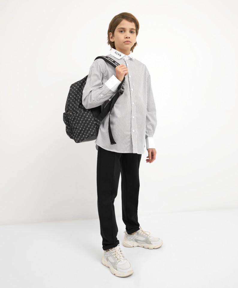 Рубашка белая в черную полоску с длинным рукавом Gulliver 221GSBJC2306 р.146