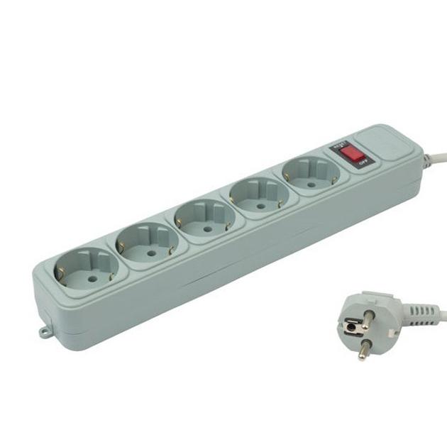 Сетевой фильтр PC Pet AP01006-3-G 3м (5 розеток) серый (пакет ПЭ)