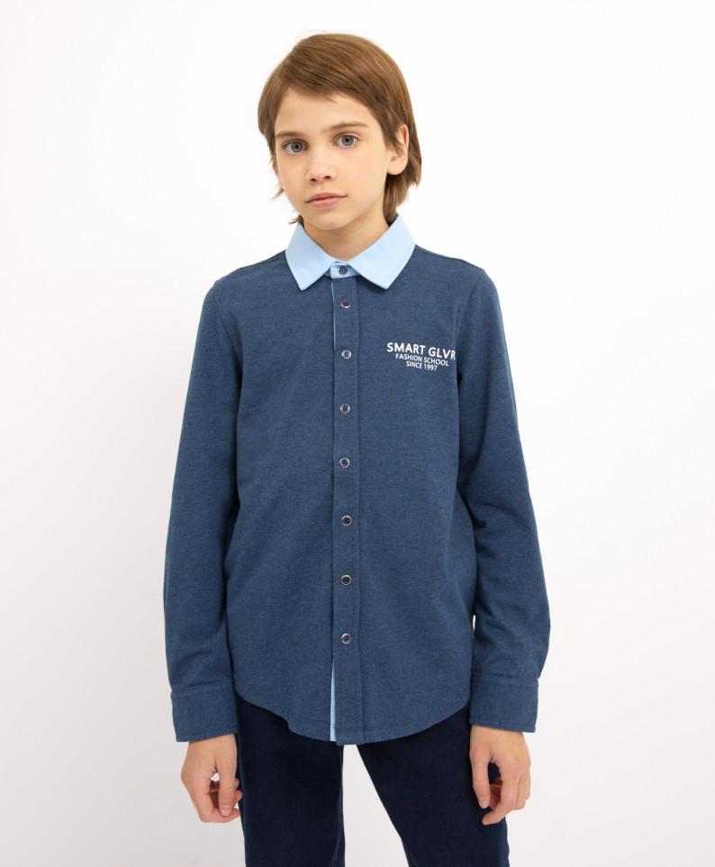 Рубашка синяя с длинным рукавом Gulliver 200GSBC1405 р.140