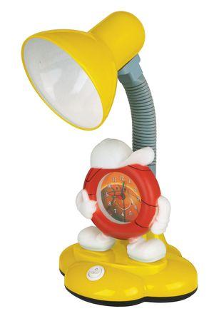 Светильник настольный KD-388 с часами 40W Е27 желтый Camelion 44567