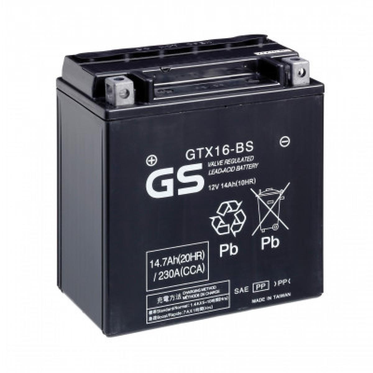Аккумулятор GS GTX16-BS.