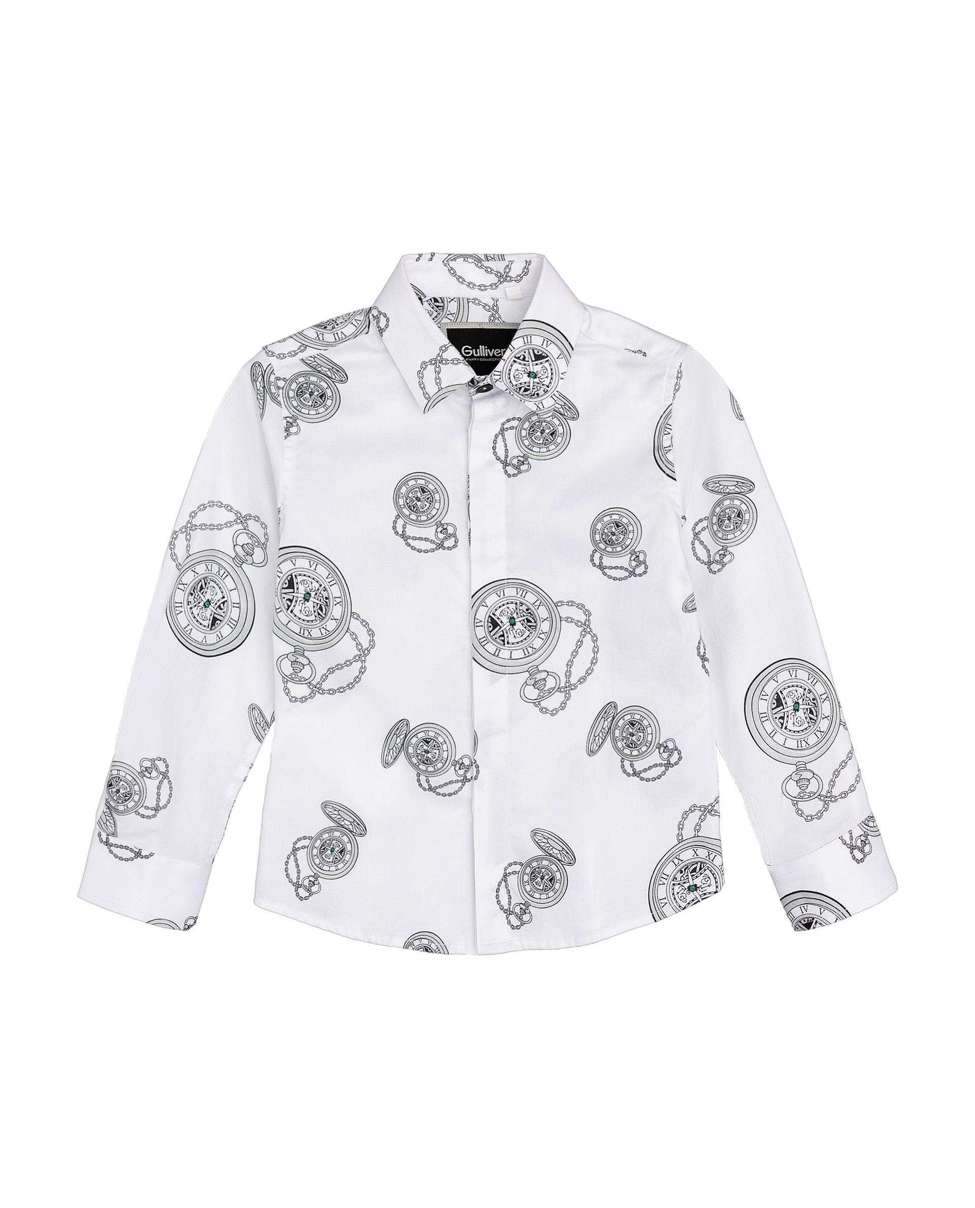 Рубашка для мальчиков Gulliver, цв. белый, р.74