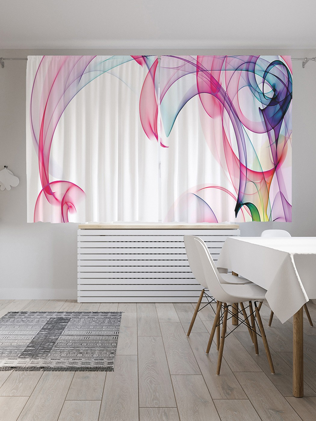 Шторы под лён «Красочный дым», серия Oxford DeLux, 290х180 см фото