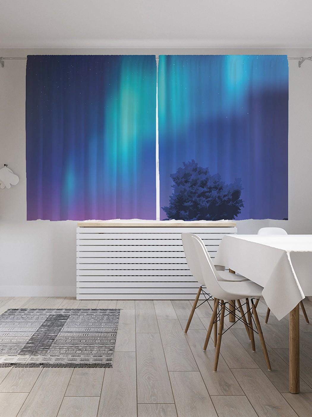 Шторы под лён «Северное сияние в небе», серия Oxford DeLux, 290х180 см