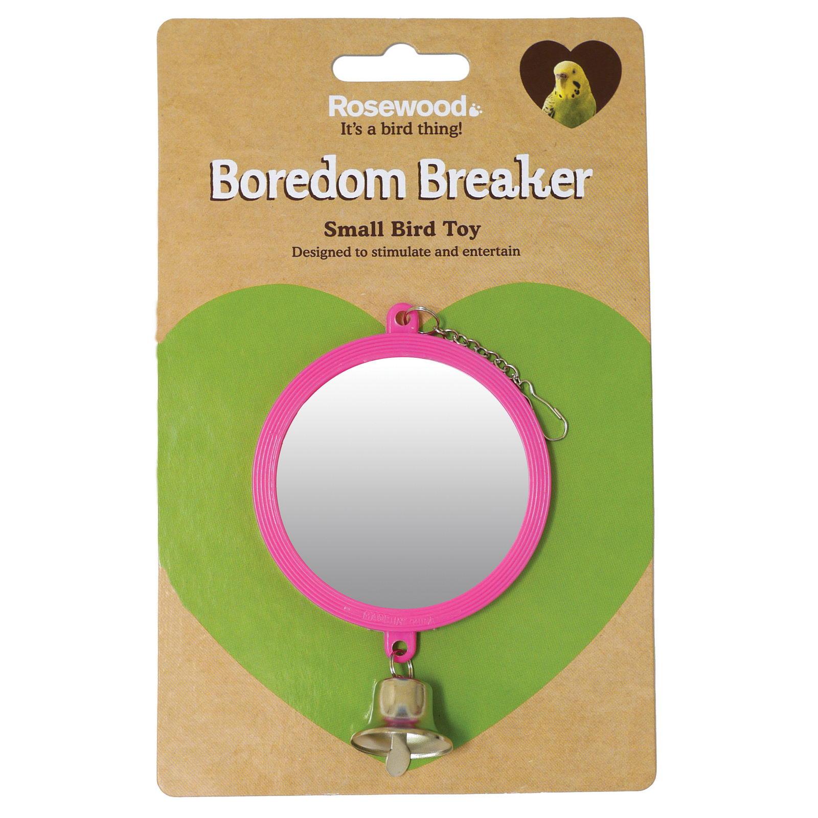 Игрушка для птиц Rosewood Зеркало с колокольчиком, розовое, 15 см
