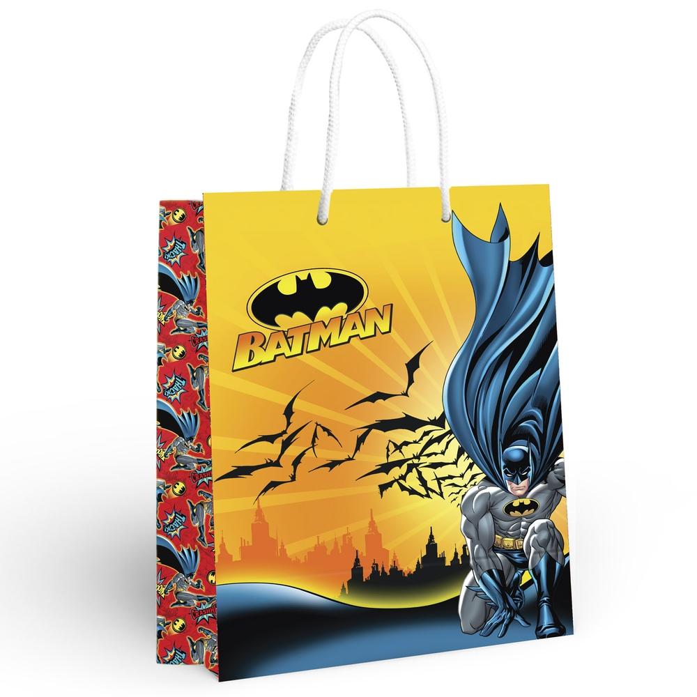 Пакет подарочный большой Batman (желтый, красный), 335x406x155 мм