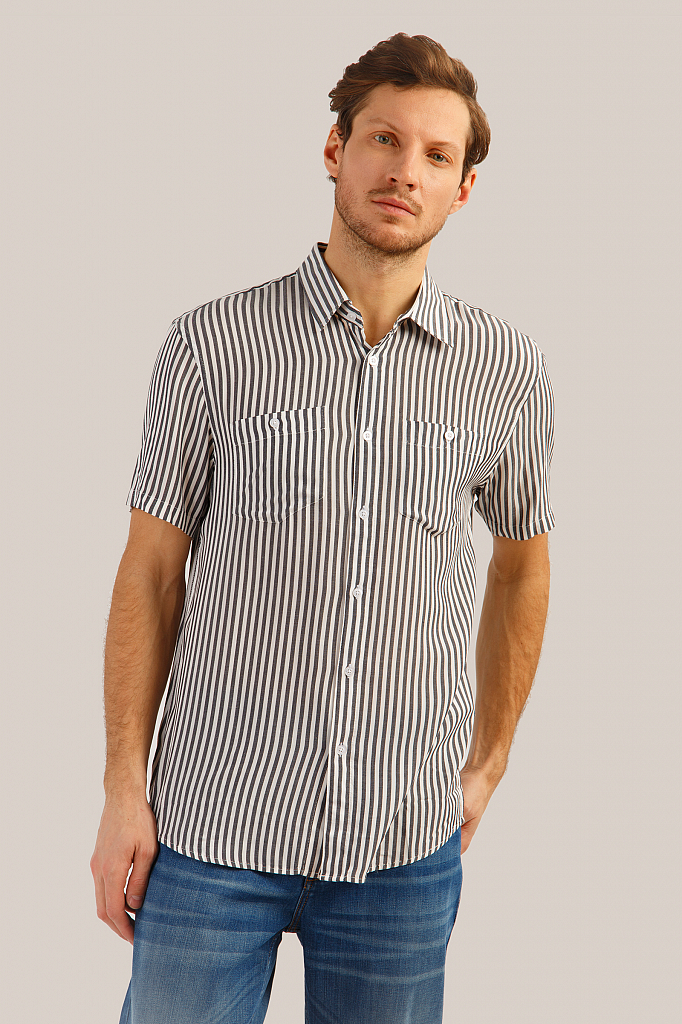 Рубашка мужская Finn-Flare S19-24014 синяя XL фото