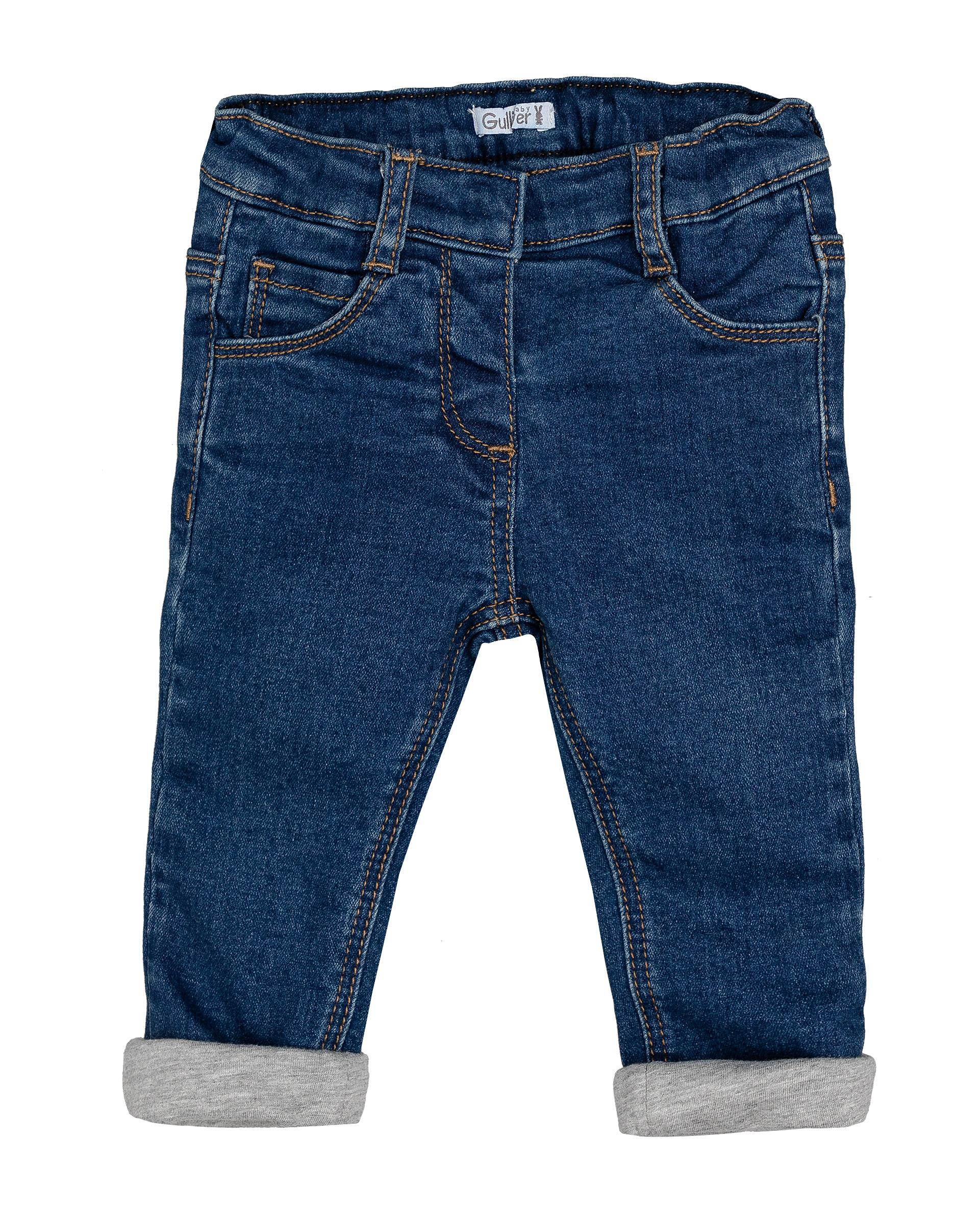 Утепленные джинсы для девочек Gulliver, цв. синий, р.74
