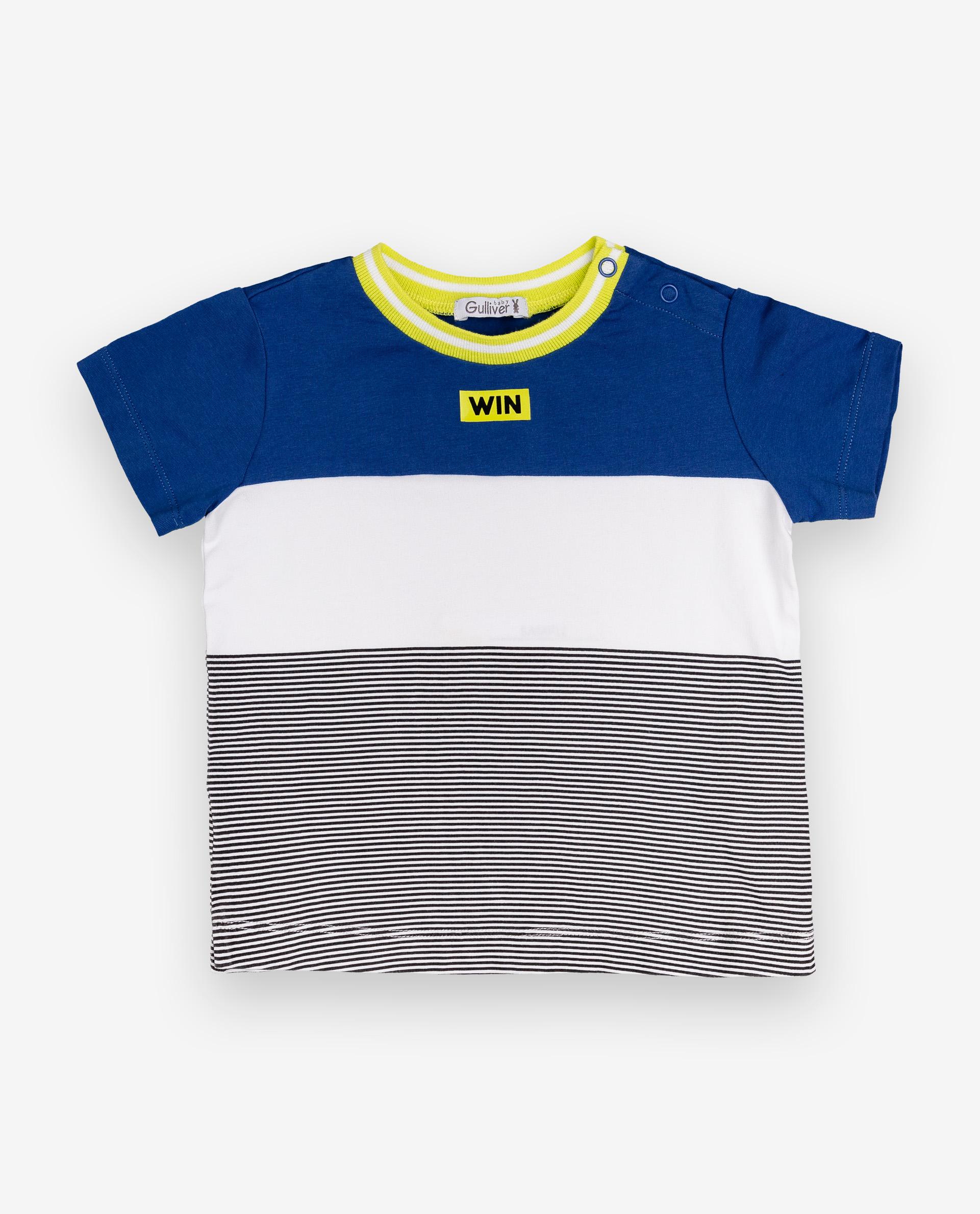 Купить 12034BBC1209, Футболка для мальчиков Gulliver, цв. синий, р.74, Кофточки, футболки для новорожденных