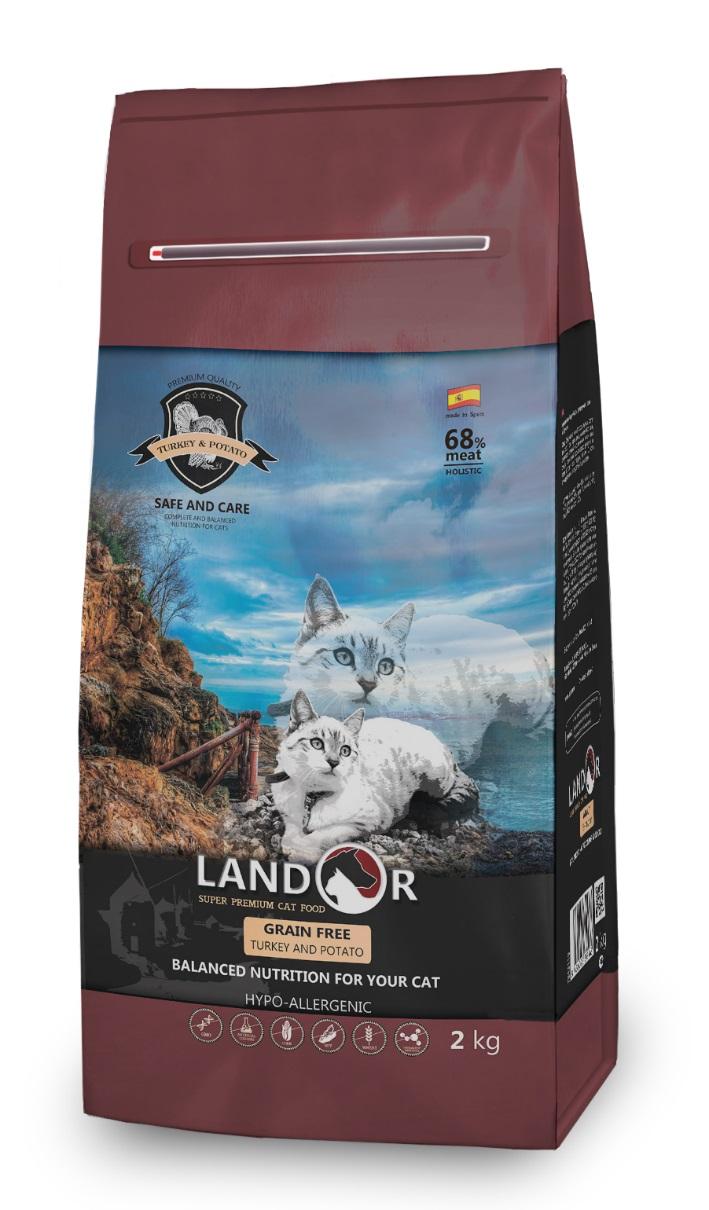 Сухой корм для кошек Landor Grain Free, беззерновой, индейка с бататом, 2кг фото