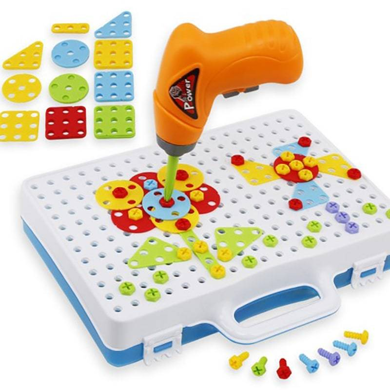 Купить Конструктор - мозаика с шуруповертом Creative Magic Panel 198 деталей с шуруповертом,
