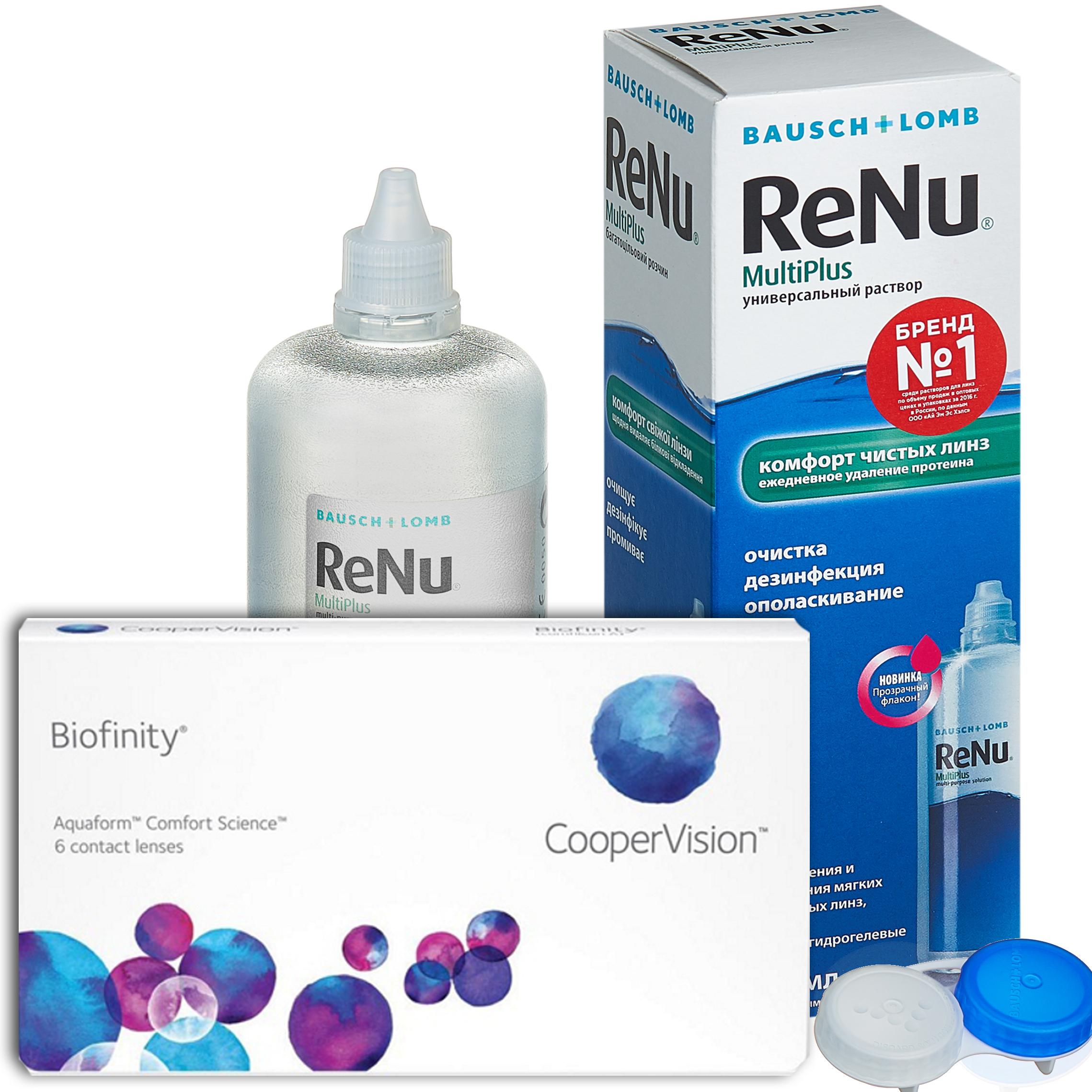 Купить Biofinity 6 линз + ReNu MultiPlus, Контактные линзы Biofinity 6 линз R 8.6 -4, 75 + Раствор ReNu Multi Plus 360 мл