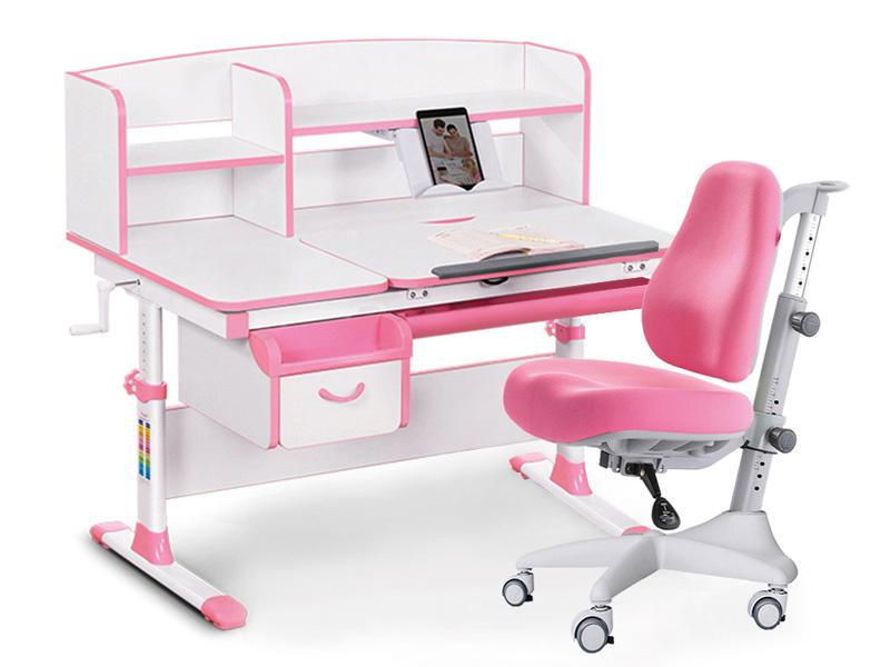 Купить EVO-50 (Y-528) МДФ Белый Розовый Розовый в комплекте Подвесная тумба, Комплект парта и кресло Mealux EVO-50 Y-528,