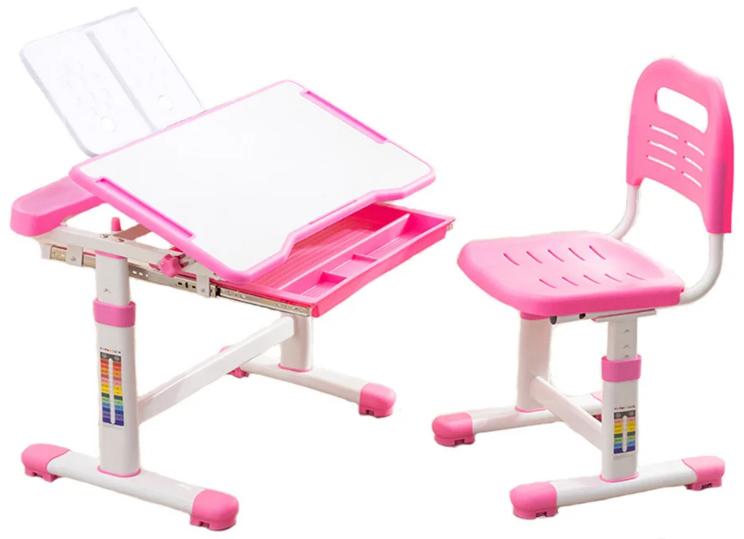 Комплект Cubby парта и стул трансформеры Vanda Vanda МДФ / Металл / Пластик Белый Розовый