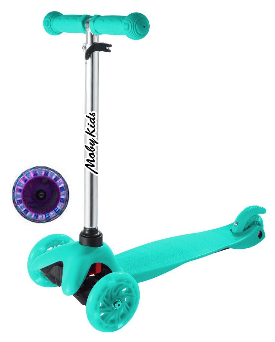 Купить Самокат Moby kids Basic 2.0 со светом, голубой, Самокаты детские трехколесные