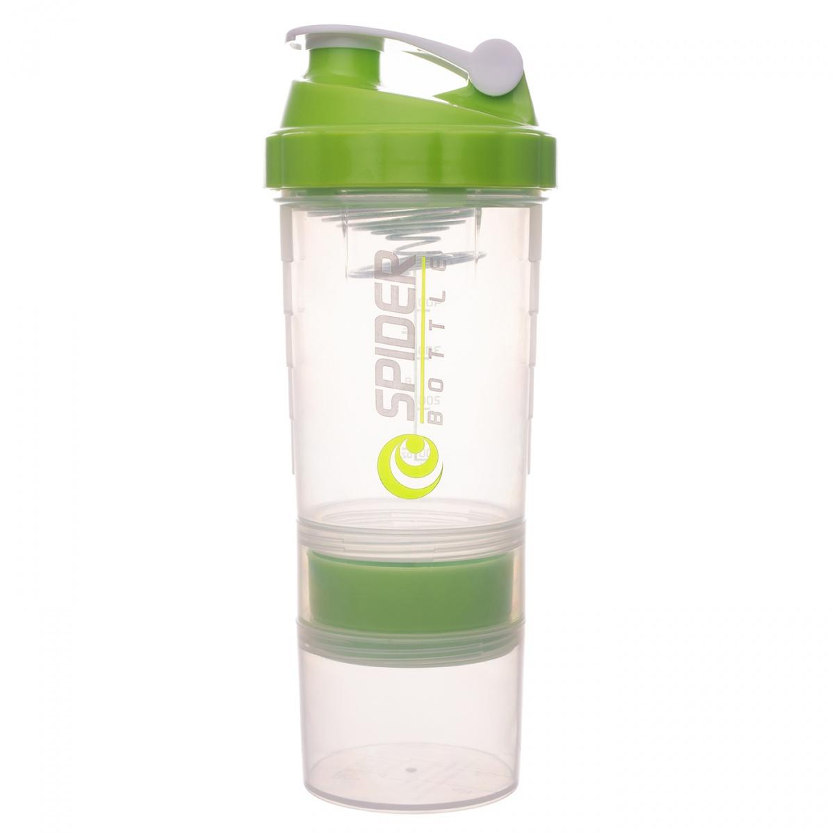 Шейкер Spider Bottle Maxi2Go 2 отсека 600 мл прозрачный/зеленый