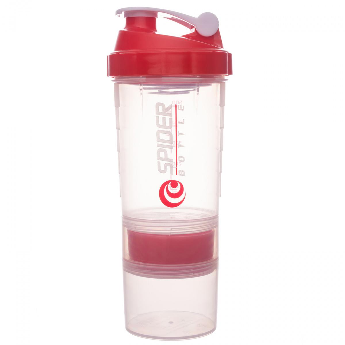 Шейкер Spider Bottle Maxi2Go 2 отсека 600 мл прозрачный/красный