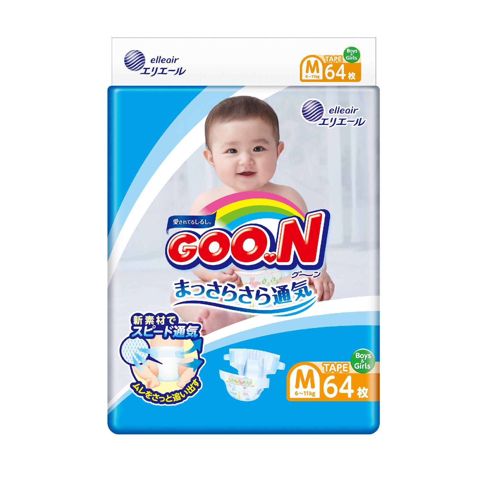 Купить Подгузники GOO.N M (6-11 кг), 64 шт., Goon,