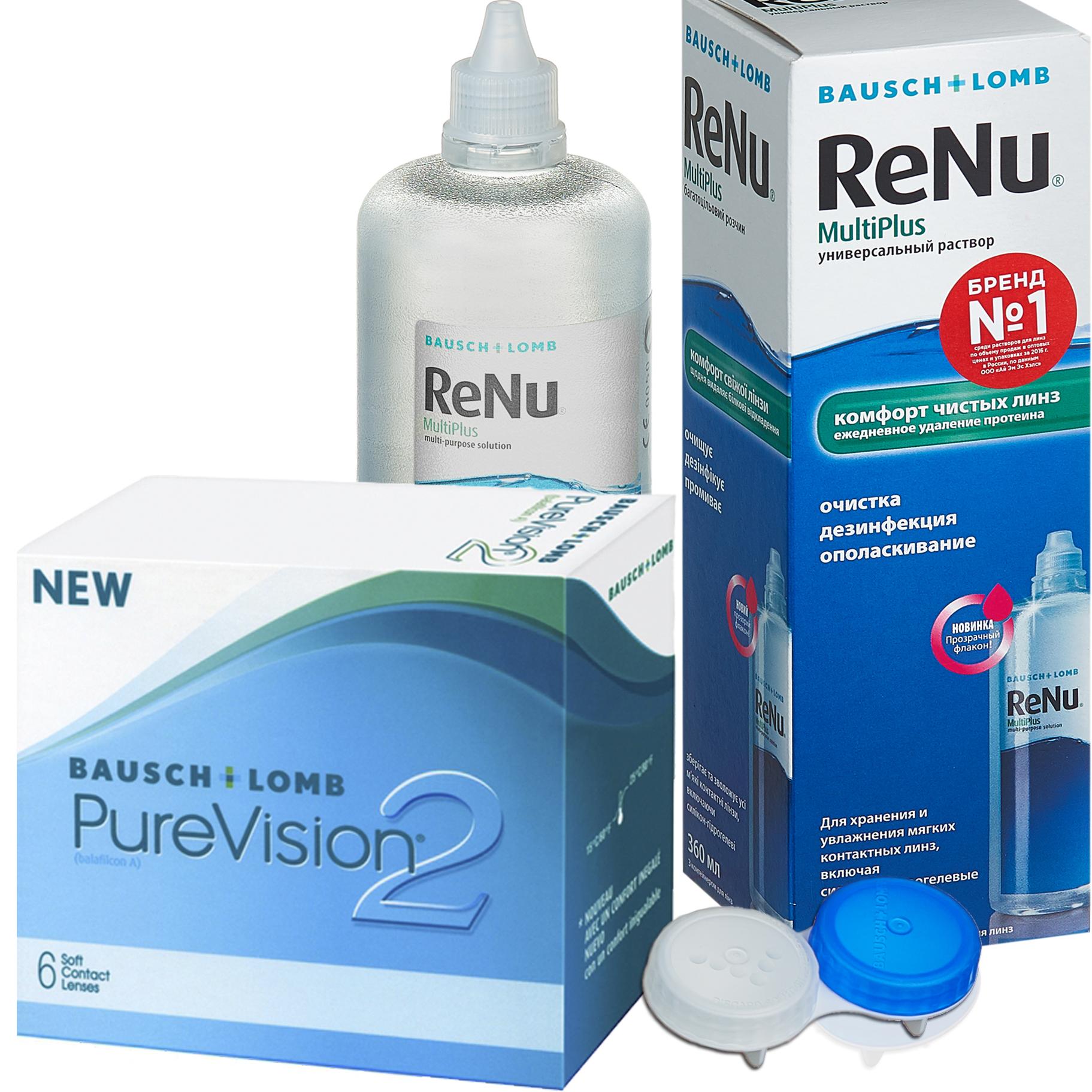 Купить 2 6 линз + ReNu MultiPlus, Контактные линзы PureVision 2 6 линз R 8.6 -4, 75 + Раствор ReNu Multi Plus 360 мл