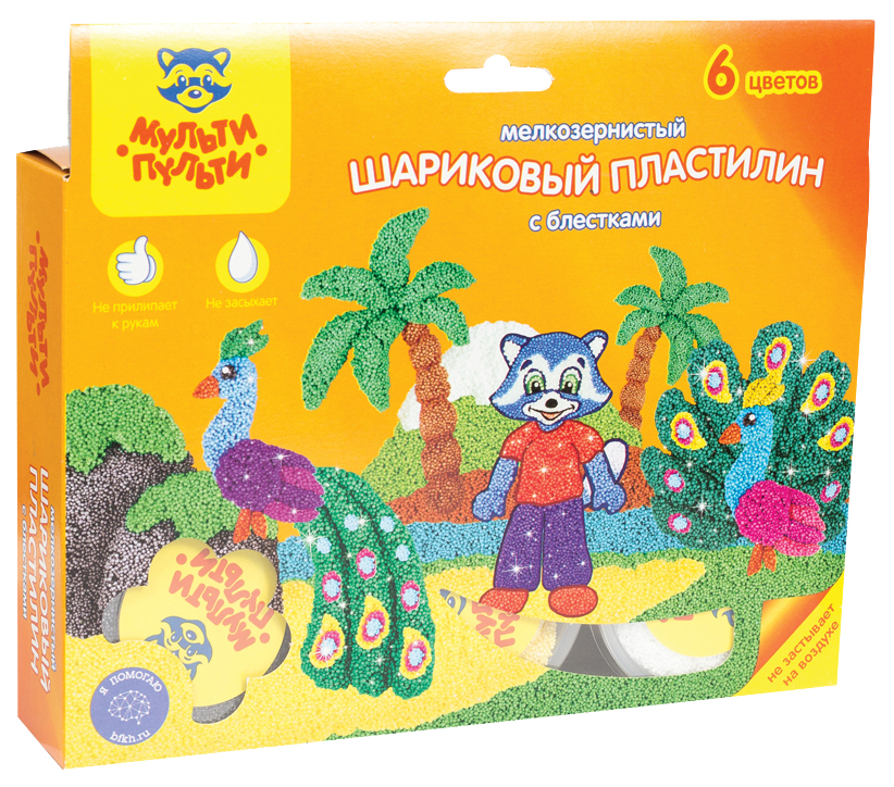 Пластилин шариковый Мульти-Пульти Приключения Енота 6 цветов с блестками