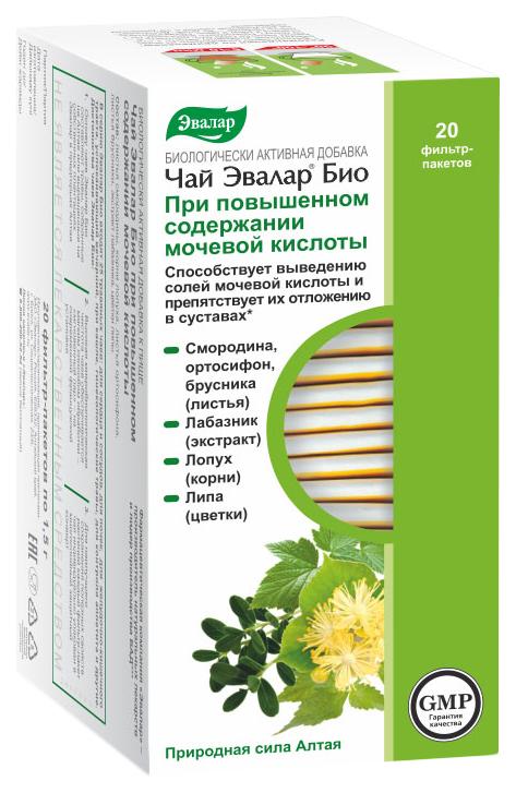 Купить Чай при повышенном содержании мочевой кислоты, Чай Эвалар БИО при повышенном содержании мочевой кислоты, 20 фильтр-пакетов
