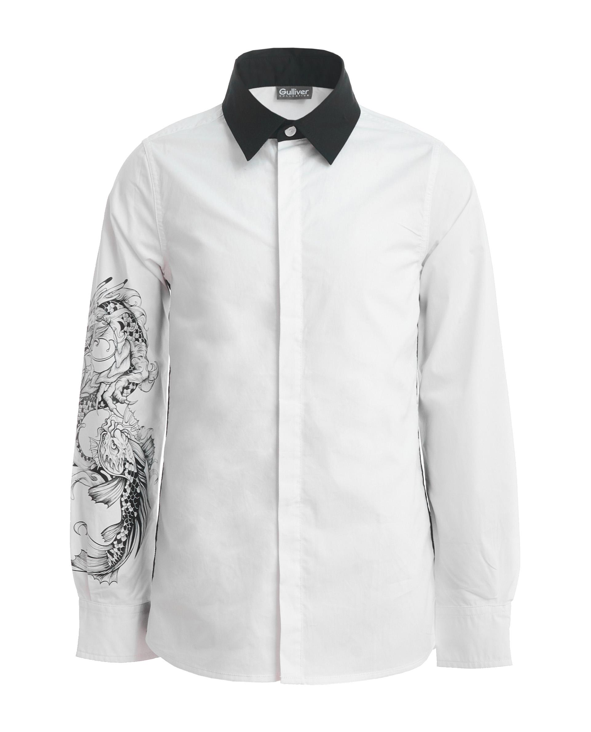 Рубашка для мальчиков Gulliver, цв. белый, р.134 фото