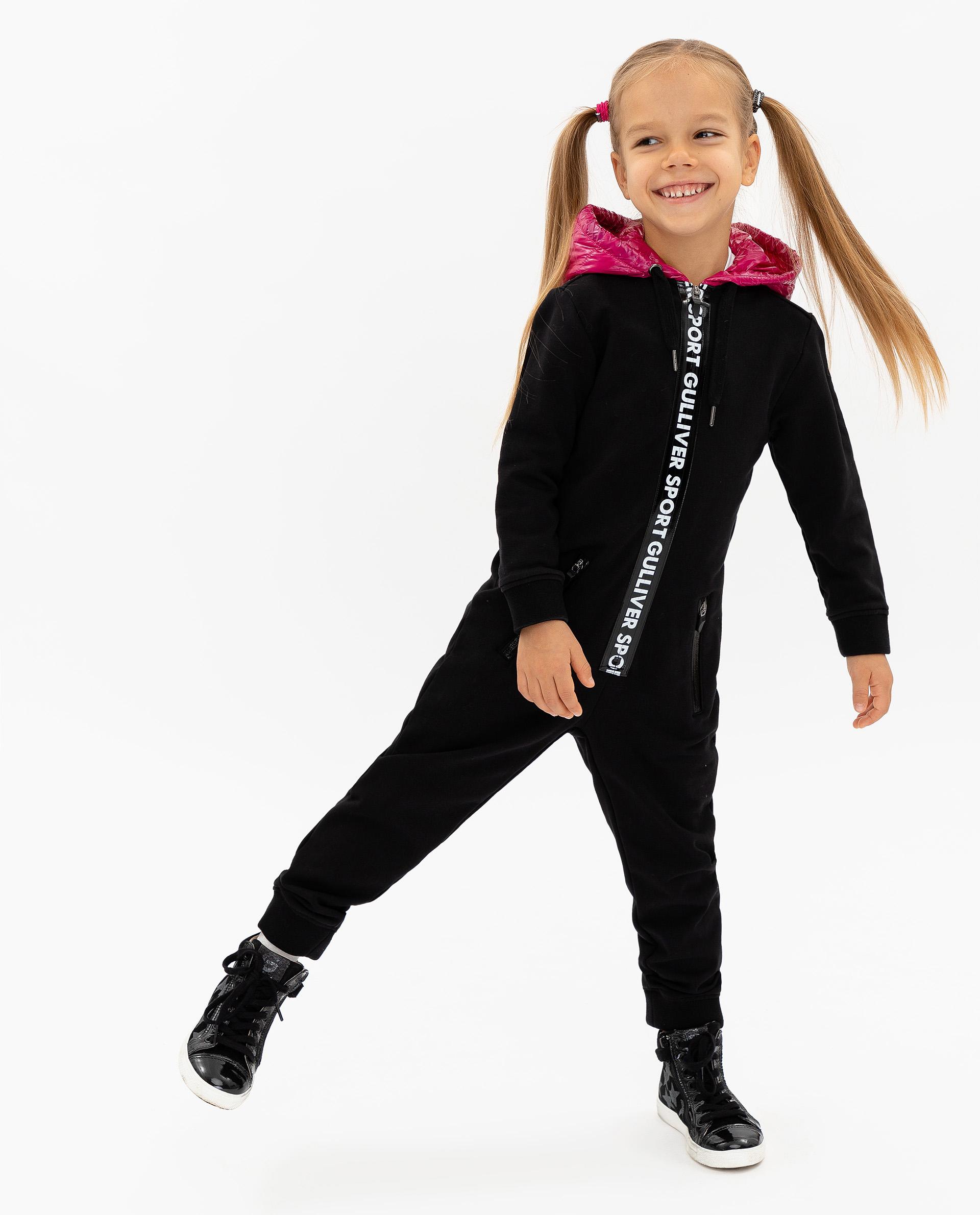 Купить 219FGC5301, Комбинезон для девочек Gulliver, цв. черный, р.116, Повседневные комбинезоны для девочек