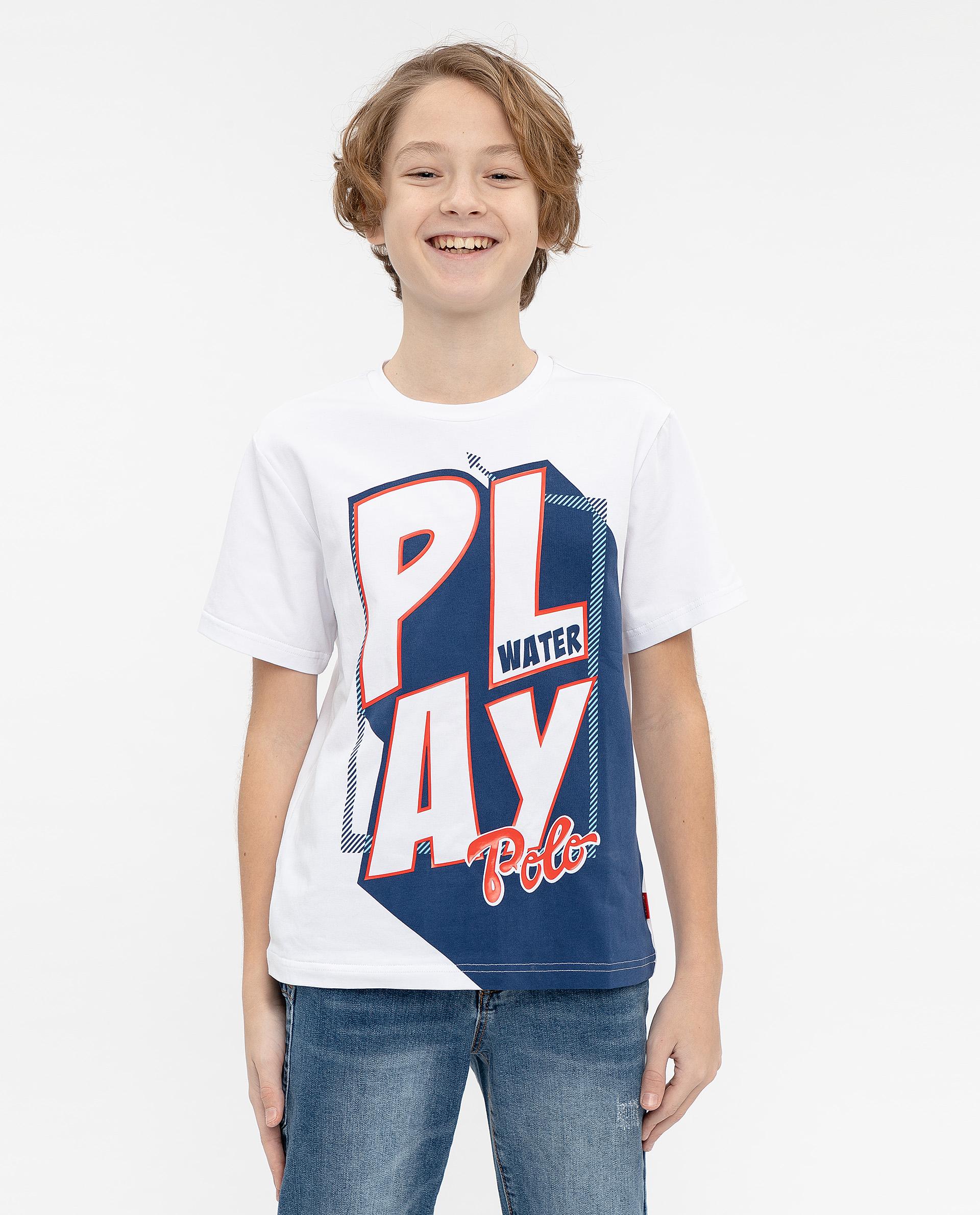 Купить 12012BJC1216, Футболка для мальчиков Gulliver, цв. белый, р.140,