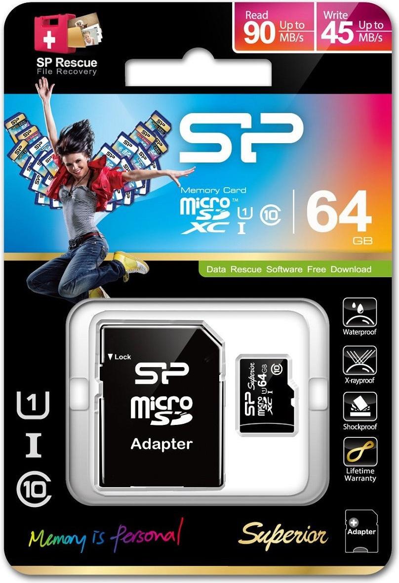 Карта памяти microSD 64GB Silicon Power Superior