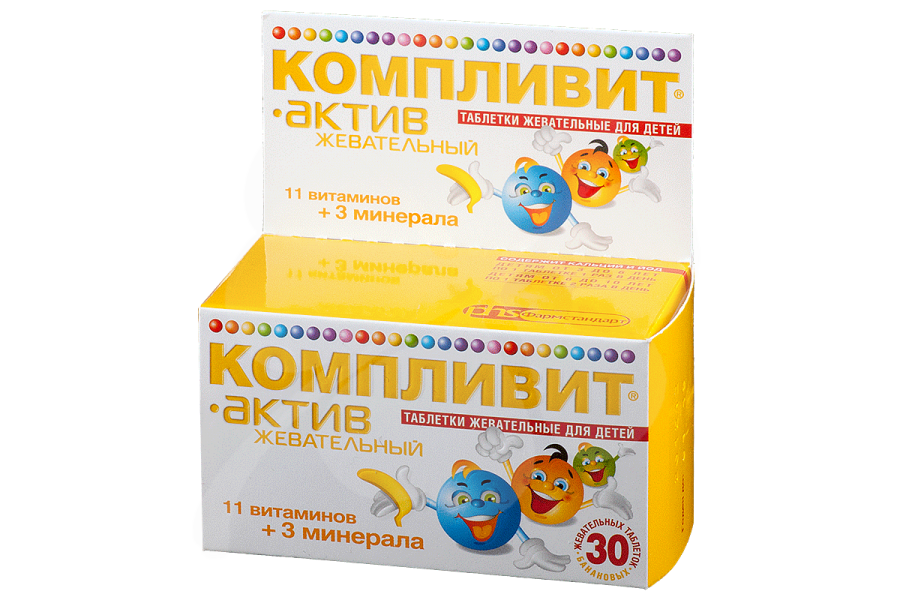 Компливит Актив жевательный, таблетки жевательные Банан 30 шт.
