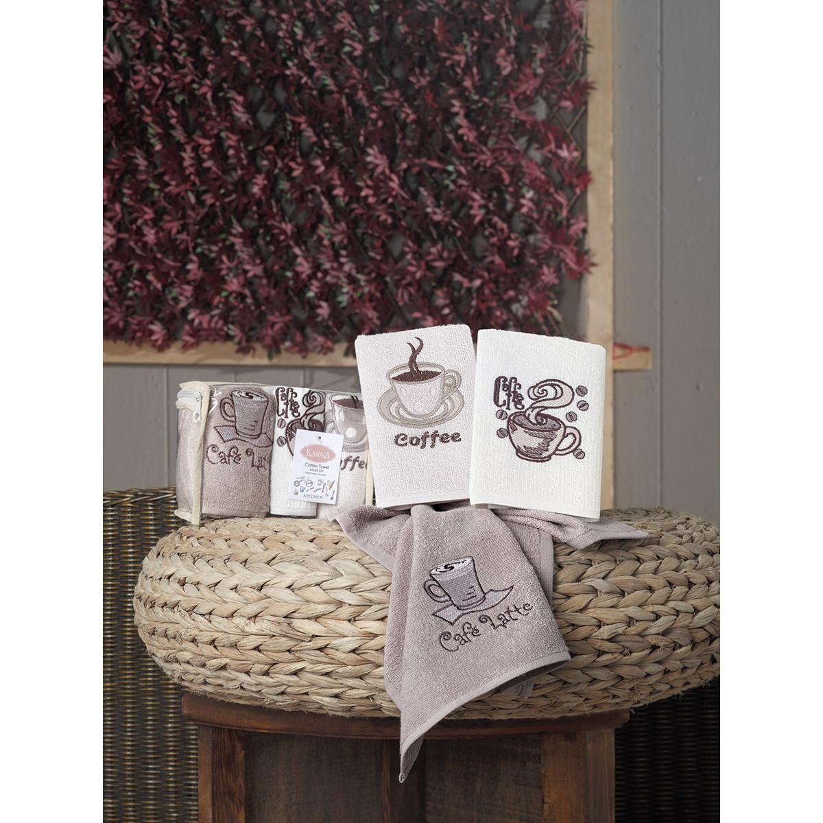Набор кухонных полотенец Karna Cafe Prima, 50x30 см, темно-бежевый, бежевый