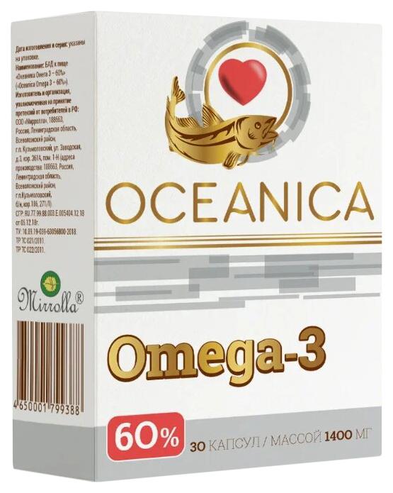 Купить Океаника Омега 3 60% капсулы 1400 мг 30 шт., Mirrolla