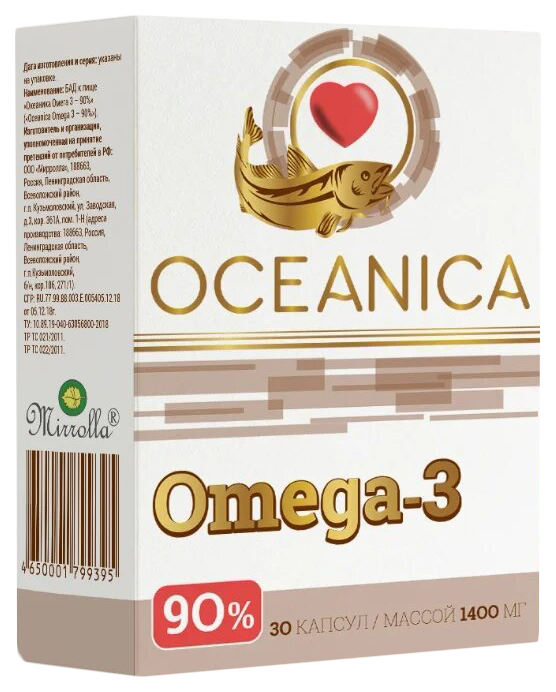Купить Океаника Омега 3 90% капсулы 1400 мг 30 шт., Mirrolla