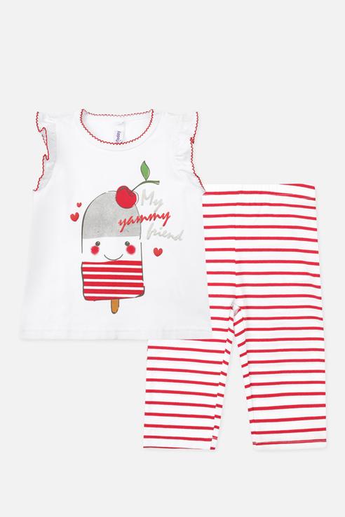 Купить 220321006, Комплект футболка и лосины PlayToday для девочек цв. красный р-р. 74, Play Today,