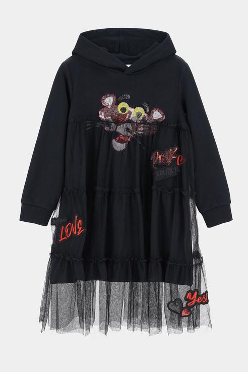 Купить AZAV3659F, Платье-толстовка Original Marines для девочек цв. черный р-р. 104,