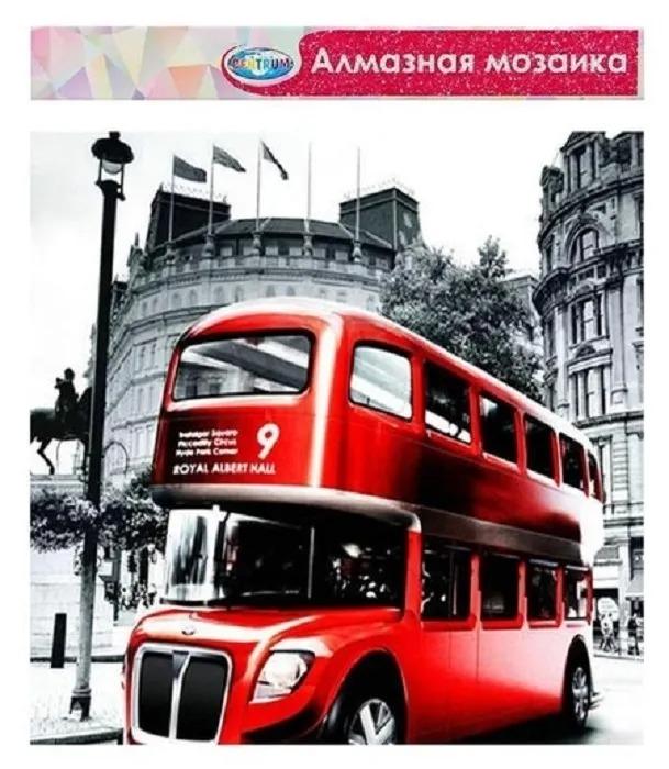 Алмазная мозаика  Centrum Красный Автобус Лондон 40х50 см  частичная выкладка