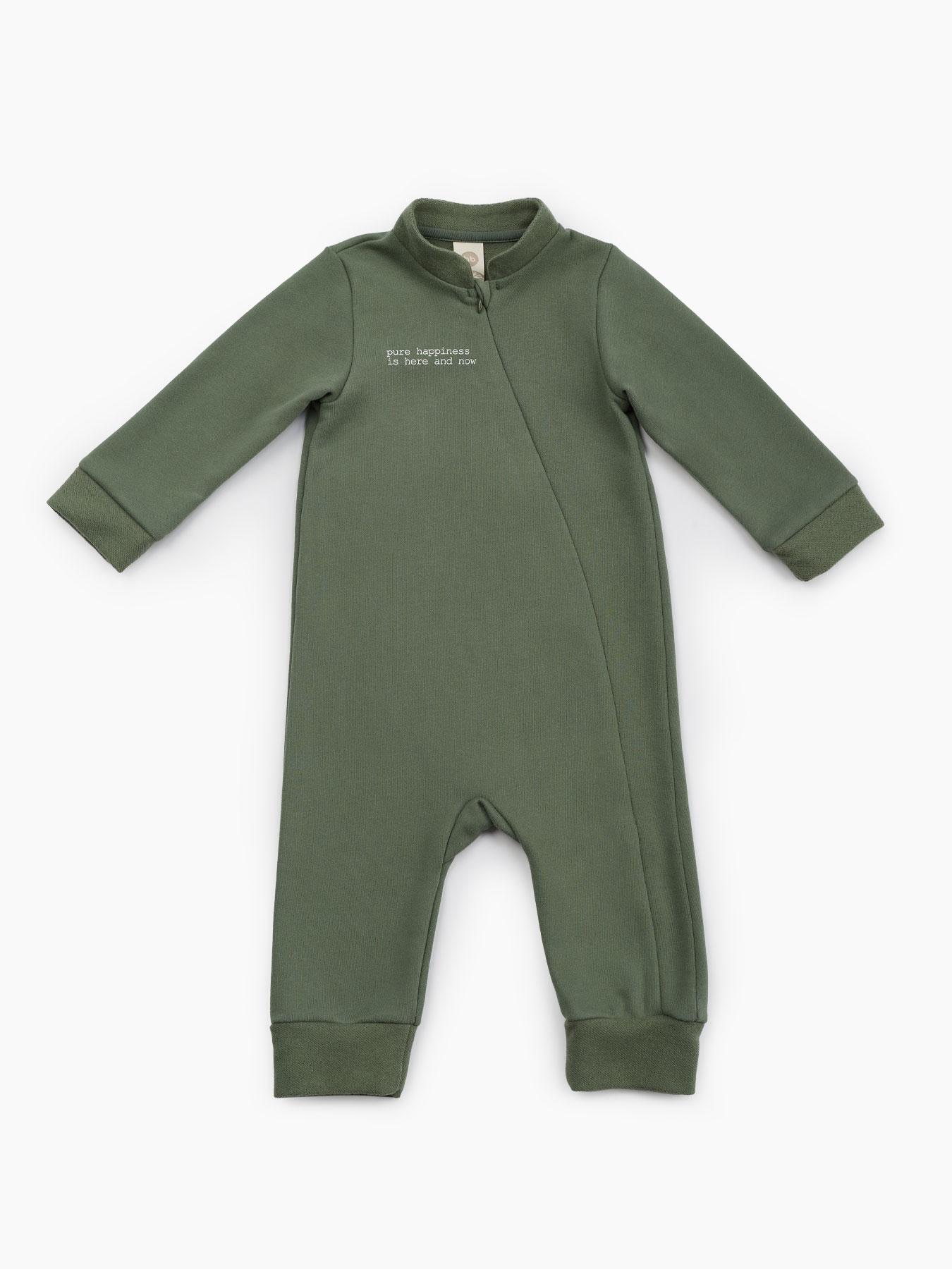 Купить 88092, Комбинезон из мягкого футера (green, 86) Happy Baby зеленый 86,