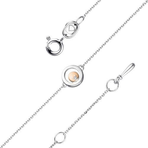 Браслет из серебра с бриллиантом р. 17 АЛЬКОР 05-1807/000Б-00